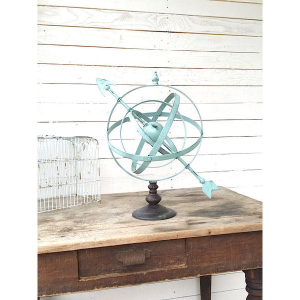 Metal Globe Armillary Sphere Globe Industrial Architectural Garden... ($80) ❤ liked on Polyvore featuring home, outdoors, home & living, home décor, silver, wall décor and metal weather vane
