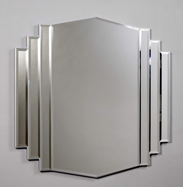 Morris Mirrors Ltd Art Deco Design Bevelled Mirror In Silver From With FREE Delivery