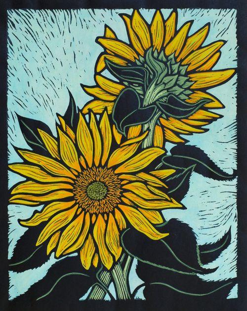Sunflower28 x 22 cm Edition of 50Hand coloured linocut on handmade Japanese paper. Rachel Newling.