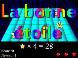 Utilisez les flèches du clavier pour déplacer la boule et prendre l'étoile correspondant à la multiplication à trou indiquée. Une fois que vous avez trouvé trois étoiles sur quatre, vous passez au niveau suivant. D'un niveau à l'autre, les étoiles bougent de plus en plus vite. Evitez les mauvaises boules car le jeu s'arrête après trois erreurs.
