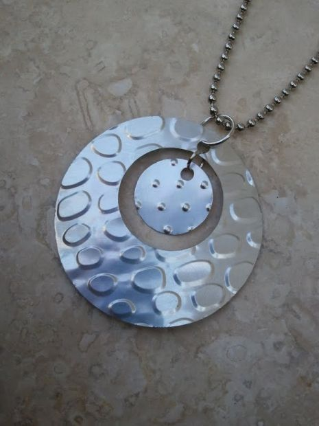 Upcycled Soda Pop Can Circles Pendant | Rainy Roots Studio #handmade #jewelry