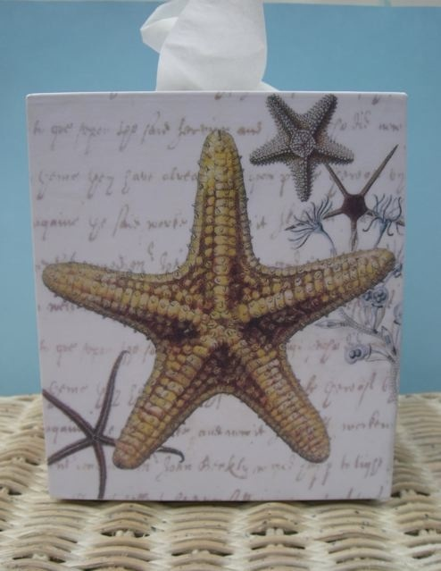Coastal decor tissue box cover for the home pinterest - Beach themed tissue box cover ...
