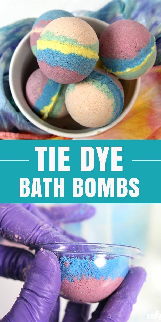 Homemade Bath Bombs Tutorial | Fun DIY Ideas for Teens and Adults | Crafts for the Bath | Tie Dye DYI Bath Bombs Recipe