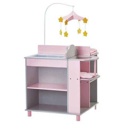 Olivia's Little World - Baby Doll Furniture - Baby Changing Station with Storage (Grey Polka Dots)