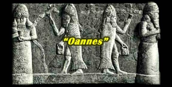 """the Sumerians attributed the source of their wondrous cultural skills; agriculture, architecture and science to the teachings of extra-terrestrials called the Annunaki—more specifically to the instructions  of """"Oannes""""; their ancient god, described as part-man, part-fish… [note; the 'fish' crown worn by Vatican popes]. The Sumerian culture gradually evolved into the Empire of 'Babylon'—a word which in itself means 'gateway of the gods'."""