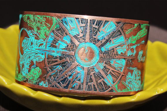 Etched Copper Cuff  Nautical Design in Blues & by LaLuneJewel, $50.00