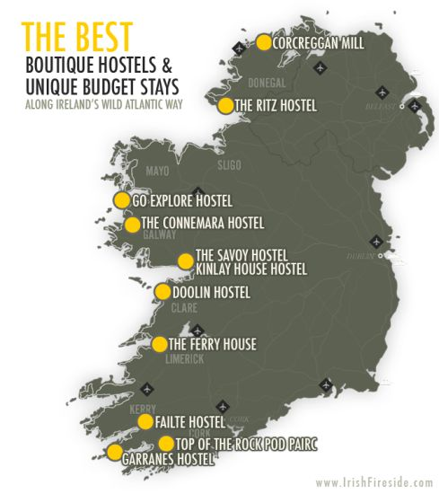 Best Boutique Hostels and Unique Budget Stay Along Ireland's Wild Atlantic Way via @irishfireside