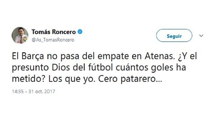 ICYMI: Roncero critica a Messi en Twitter y un madridista le mete un ZASCA brutal