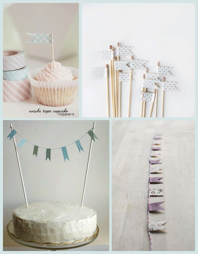 Washi tape flags. Stick them in mini pancake stacks, or hang mini penant line between mini topiaries.