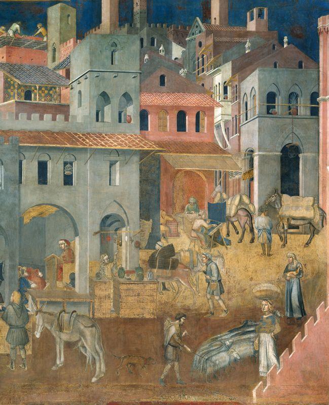 Ambrogio  Lorenzetti - Allegoria degli Effetti del Buon Governo in Città (1338-1339), Parete di destra della Sala dei Nove, Palazzo Pubblico, Siena (dettaglio)