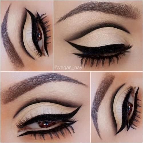 Black and white cut crease #eye #makeup