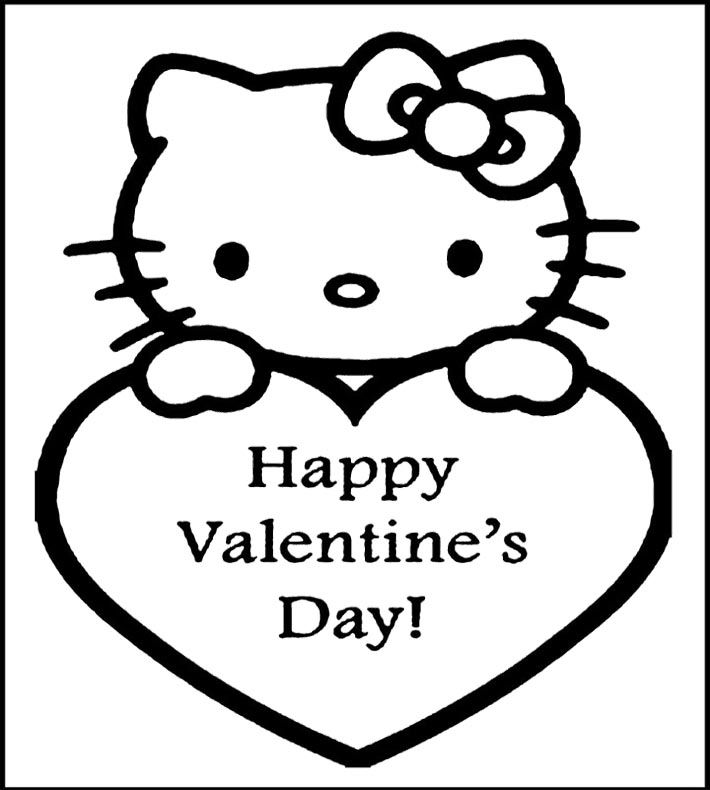 hello kitty happy valentines day coloring page for kids