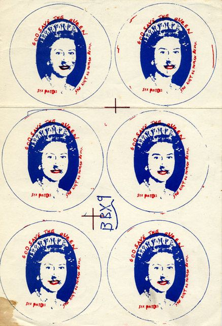 God Save The Queen, button proof sheet. (1977)
