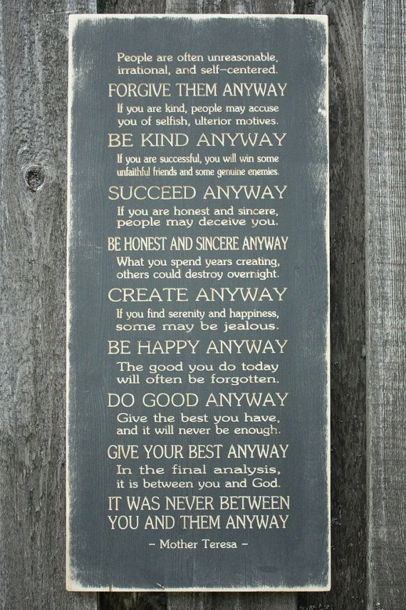 mother teresa do it anyway | Mother Teresa Do It Anyway - 15x33 Carved Engraved Shabby Chic ...