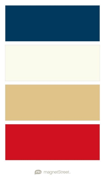 Lounge room: Navy, Ivory / Cream, Gold / Bronze / Browns, & Classic Red - custom color palette created at MagnetStreet.com