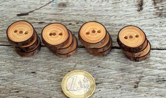 Wood Buttons-12 handmade red Pine tree branch buttons 1 inch