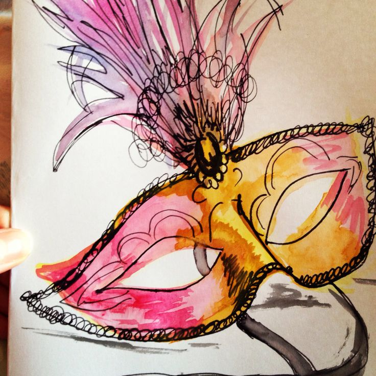 Venetian mask-water colours and ink