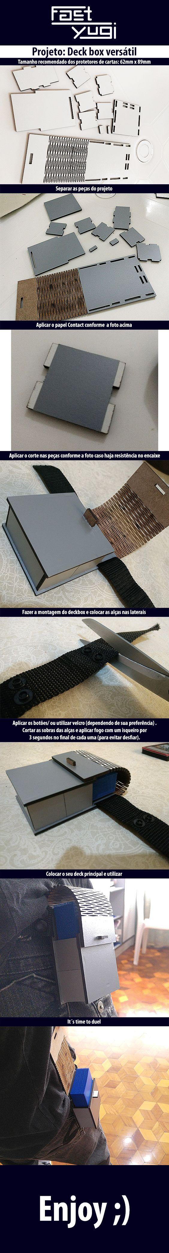 Deck-box para segurar o deck na cintura. Projeto MDF 3mm (1 lado branco o outro lado cru). Tamanho máximo dos protetores de carta: 62mm x 89mm. Download do Projeto - https://drive.google.com/open?id=1LRhShe3eVUeC-Pd0hBoVEN348r2HBbT4
