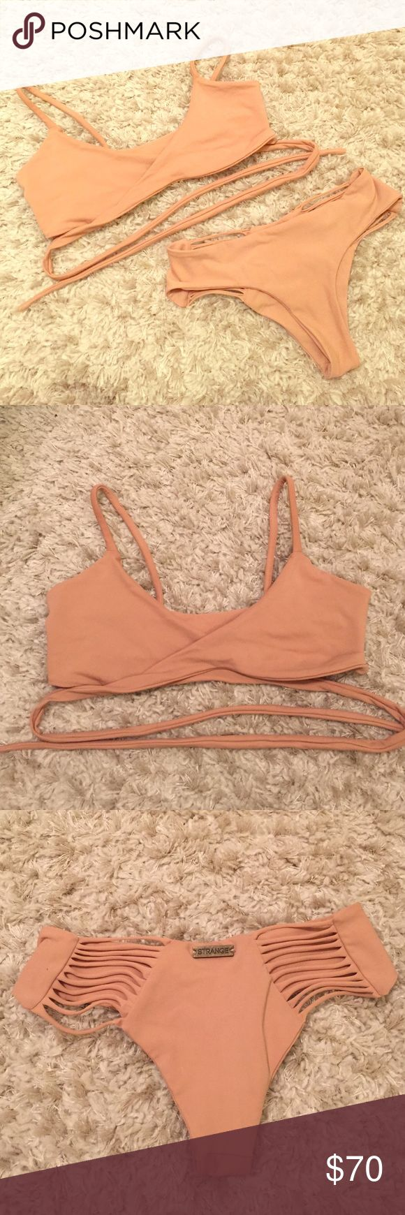 STRANGE BIKINI nude bikini set Worn once!! Great condition, great material. Not a known brand but great quality, look them up if needed. Adjustable wrap top. Can buy together or separate. STRANGE Swim Bikinis
