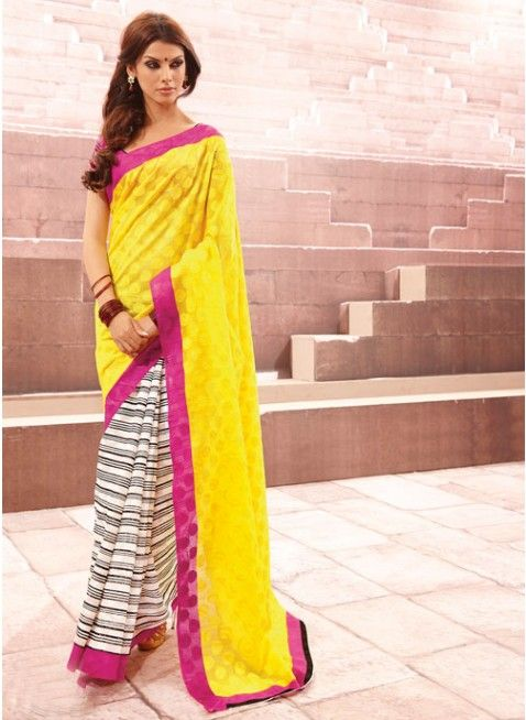 Fabulous Bhagalpuri #Silk #Saree In Yellow & Pink With Amazing stripes #clothing #fashion #womenwear #womenapparel #ethnicwear