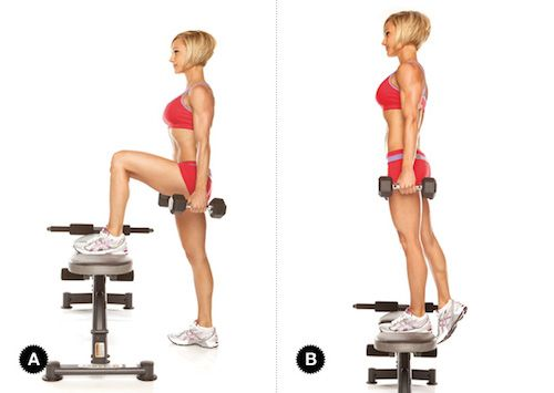Smash your hamstrings, glutes, and core with Dumbbell Step-Ups. Add a curl at the top to amp up the difficulty.
