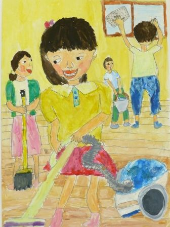 """Rina Kubota Kagoshima Prefecture Japan 3rd grade elementary school student. This painting is titled """"Cleaning Day With My Family"""". Rina said she enjoyed mixing colors to paint the color she wanted but it was difficult to draw the actions of all her family members. One of important family activities at the end of the year in Japan is cleaning day and the whole family participates."""