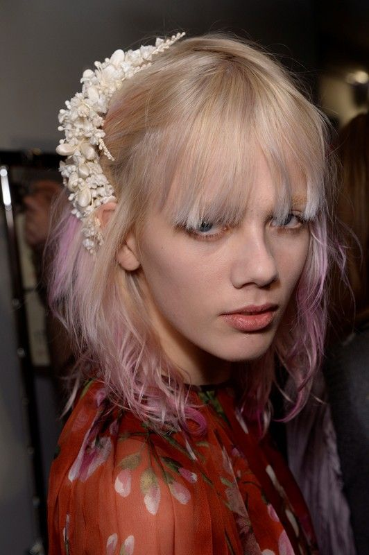 Pink hair don't care backstage at Gucci AW15 MFW. See more here: http://www.dazeddigital.com/fashion/article/23825/1/gucci-aw15-livestream