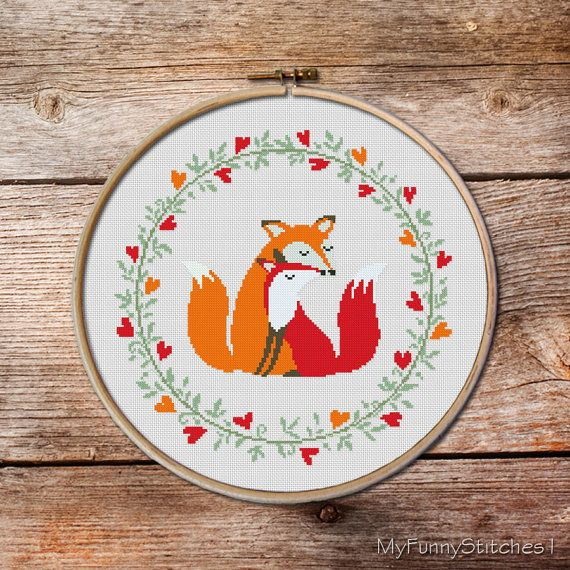 Two Foxes, Fox Cross stitch pattern, Cute red fox, Counted cross stitch pattern…