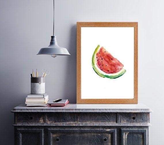 Watermelon Watercolor Printable Red Watermelon Slice Original Painting Kitchen Art Decor by ArtMii