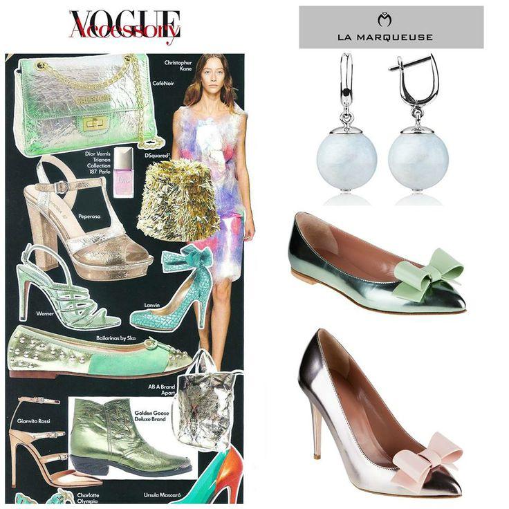 Czy w Waszych garderobach zagościły już metaliczno - pastelowe dodatki?:) metaliczne pastele?:)  #RedValentino #LaMarqueuse #Vogue #dodatki #akcesoria #accessory #buty #kolczyki #szpilki #shoes  :...