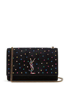 Kate crystal-embellished suede cross-body bag  | Saint Laurent | MATCHESFASHION.COM