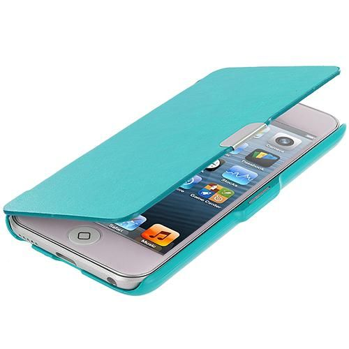 Apple iPod Touch 5th 6th Generation Baby Blue Texture Magnetic Wallet Case Cover Pouch Angle 1