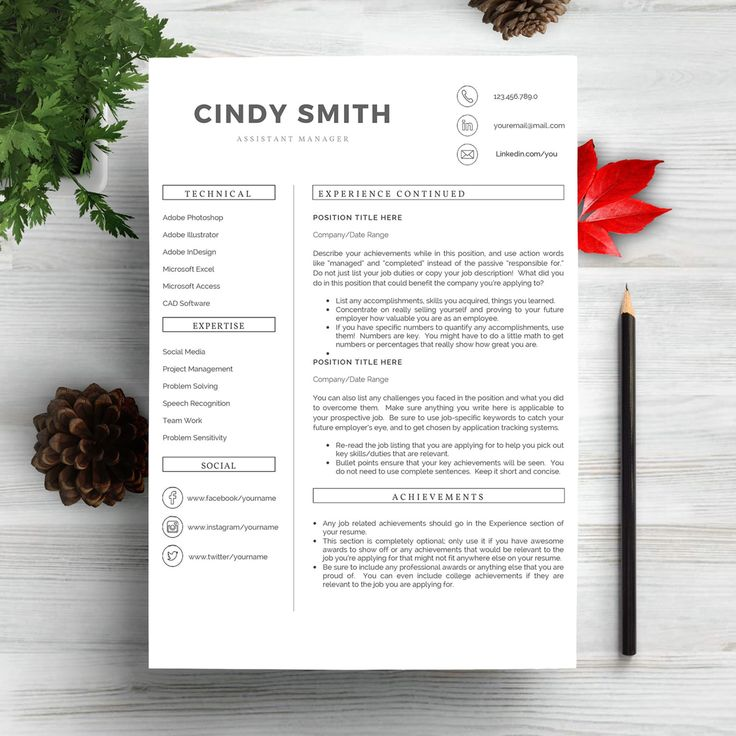 Professional Resume Template 2020. Clean Resume Template
