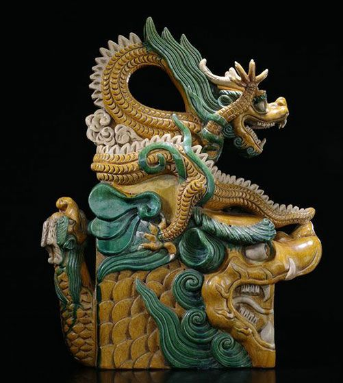 A glazed  model of a dragon roof tile, China Qing Dynasty. Nagel