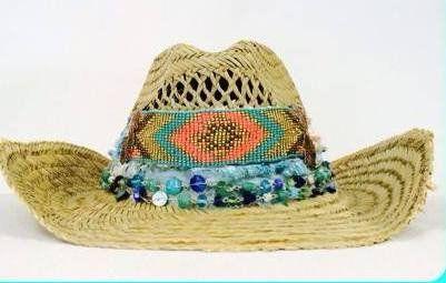 Melissimo Ibiza style Rieten hoed aqua