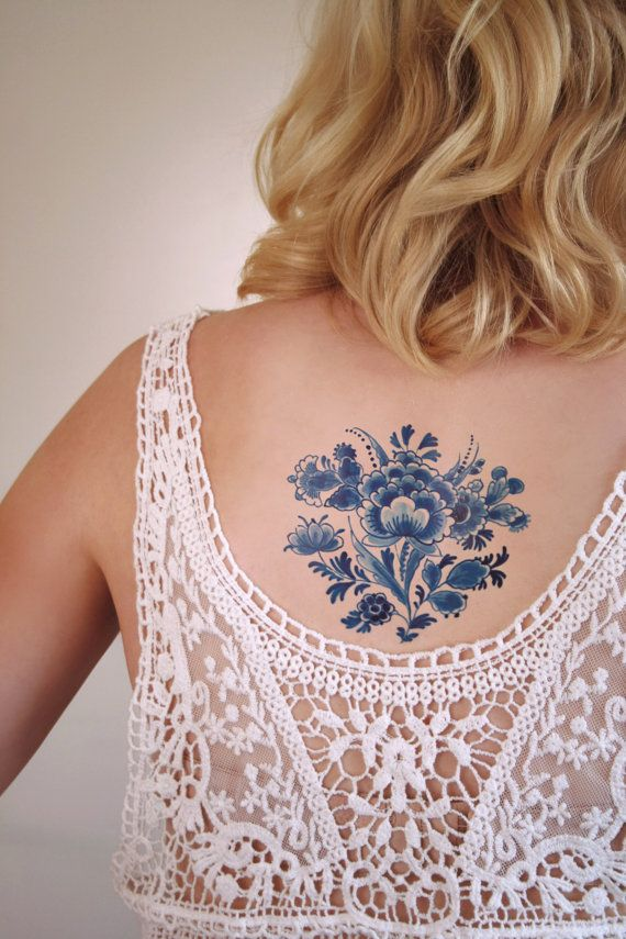 Vintage Dutch 'Delfts Blauw' floral temporary tattoo by Tattoorary