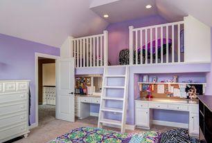 Traditional Kids Bedroom with Built-in bookshelf, flush light, Cathedral ceiling, Carpet, Loft
