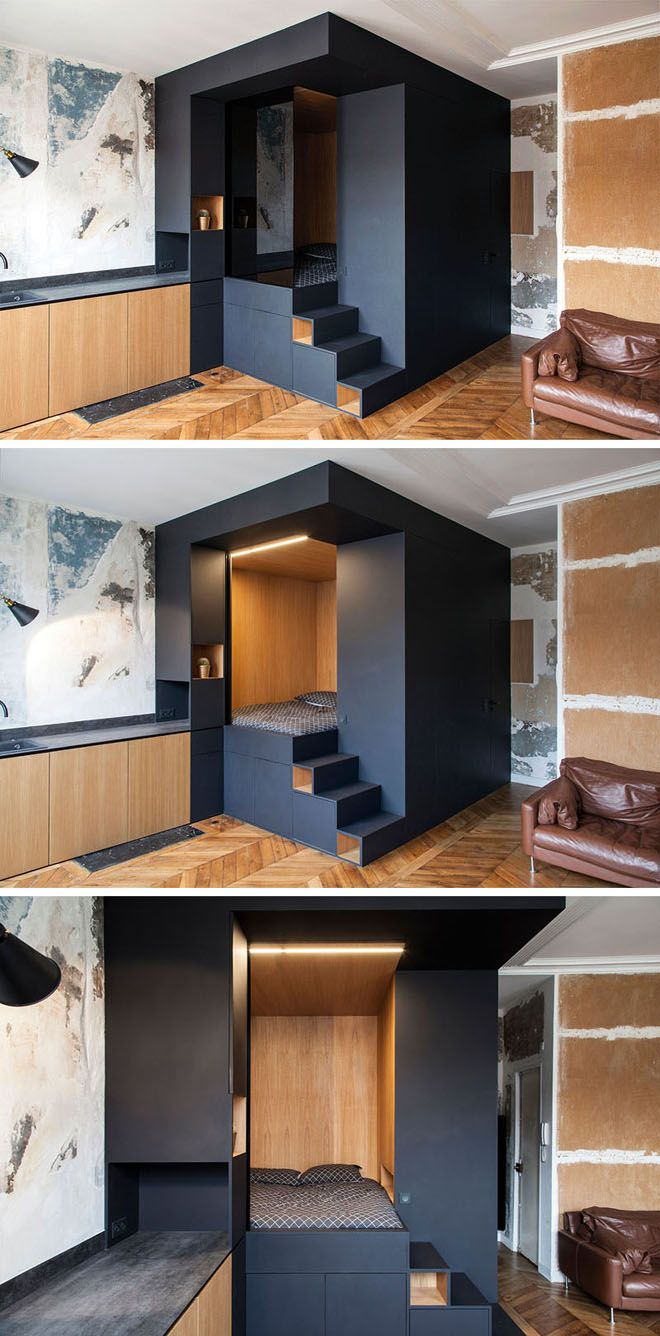 Sleek multifunctional 'bedroom box' maximizes this small apartment