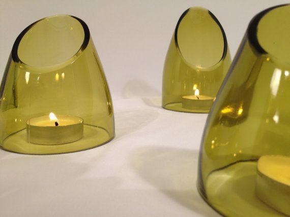 Repurposed Wine Bottle Votive/tea light Holder by RecastGlass, $6.50