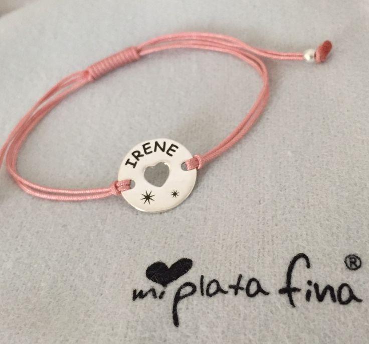 Pulsera CAPRICHOS corazón en plata de ley grabada personalizada. #joyasquehablandeti #miplatafina