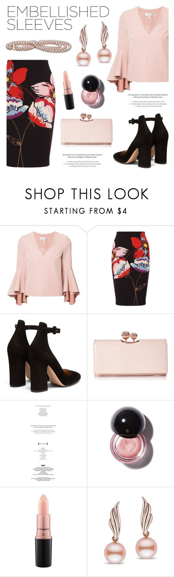 """""""Make a Statement: Embellished Sleeves"""" by pearlparadise ❤ liked on Polyvore featuring Milly, Fenn Wright Manson, Gianvito Rossi, Ted Baker, StyleNanda, MAC Cosmetics, contestentry, pearljewelry, pearlparadise and embellishedsleeves"""