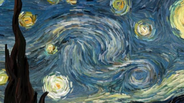 "Starry Night (interactive animation) by Petros Vrellis. An effort to visualize the flow of the famous painting ""Starry Night"" of Vincent Van Gogh."