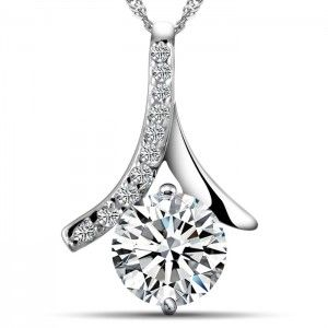 Eiffel Tower 925 Solid Sterling Silver Pendant White Gold Plated