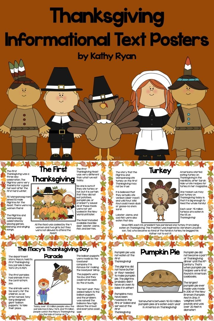 $ Looking for interesting informational texts for your students? Try these 12 Thanksgiving-themed informational text posters. Topics include: The Mayflower, Pilgrims, The Wampanoag, Squanto, The First Thanksgiving, Sarah Hale, Cornucopia, Turkey, Pumpkin Pie, Corn, Football, and the Macy's Thanksgiving Day Parade. Venn Diagram and reading scavenger hunt are included.