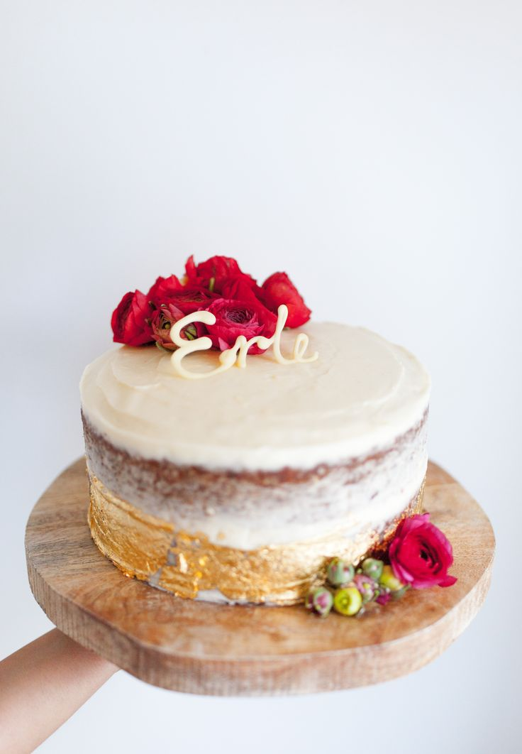 Gold Carrot Cake with red peonies.  By Cake Me! Oslo www.facebook.com/cakemeoslo
