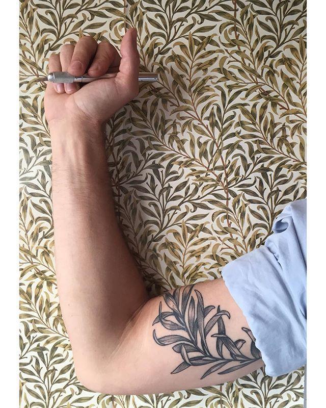 William Morris wallpaper camouflage tattoo by crazy good @rachelhauer