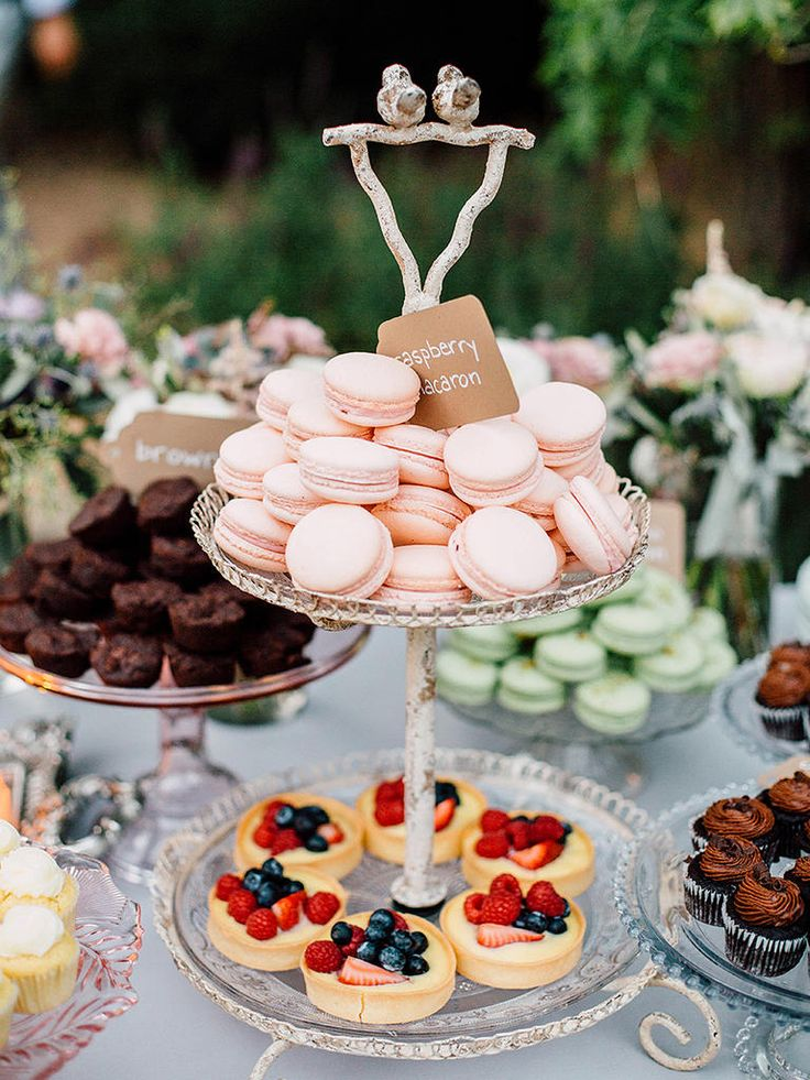 Your dessert bar can be a reception attraction in itself! Stock it with gourmet desserts for a pretty display.