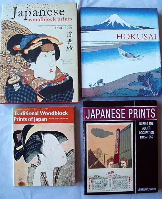 Kavel met 4 boeken over Japanse prenten - 1972/2010.  1. Andreas Marks - Japanese Woodblock Prints: Artists Publishers and Masterworks 1680-1900 - Tokyo Tuttle Publishing 2010 - 336 pp. met circa 350 platen en afbeeldingen in kleur - Hardcover met stofomslag - 31x24.Ukiyo-e by 50 artists & 50 publishers.2. Matthi Forrer - Hokusai: Prints and Drawings - Munich Prestel 1991 - 219 pp. met 133 platen (veelal in kleur) - Hardcover met stofomslag - 28x25.3. Lawrence Smith - Japanese Prints during…