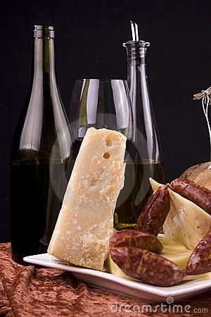 Cheese, wine and sausages