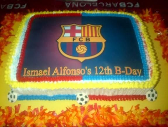 Amazing FC Barcelona Cakes. Find all the party supplies you need for your celebration at partyweb.us #fcbarcelonacake #fcbarcelonaparty #soccerparty